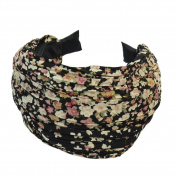 Retro Black Wide Pleated Alice Hair Band Headband Printed for Wedding Party Prom