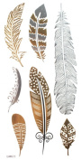 Gold & Silver & Black feather design Metallic Temporary Tattoos, tattoo Size