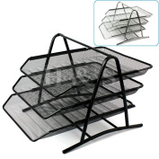 H & S® Wire Mesh Office A4 Document Letter Paper Organiser Storage Filing Trays Holder