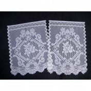TRADITIONAL LACE CHAIR BACK COVER - Floral Jacquard Lace White Sofa Back Cover White 41cm x 60cm