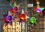 MOROCCAN STYLE STAR HANGING GLASS LANTERN (TEALIGHT HOLDER) - HOME & GARDEN
