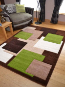 Tempo Brown Green Square Design Thick Quality Modern Carved Rugs. Available in 6 Sizes