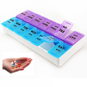 7 Day Pill Box Pill Organiser 14 Compartment Weekly Pill Box