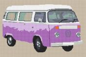 Volkswagen Camper Van Bay Window Cross Stitch Kit - Lilac