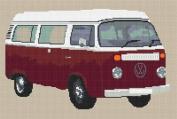 Volkswagen Camper Van Bay Window Cross Stitch Kit - Burgundy
