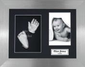 BabyRice Baby Casting Kit / 29cm x 22cm Brushed Pewter Frame / Black 3 Hole Mount / Black Backing / Silver Paint