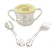 Silver Plated Christening Duck Design Baby Cup beaker Spoon & Fork
