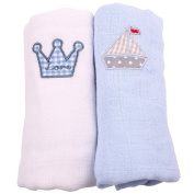 Minene Muslin Squares with A Embroidered Crown and Boat
