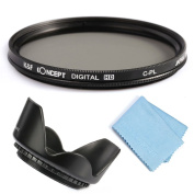 K & F Concept® 58mm CPL Filter Multi Coated Polarised for Canon 600D EOS M M2 700D 100D 1100D 1200D 650D DSLR Cameras + Lens Cleaning Cloth + Petal Flower Lens Tulip Hood