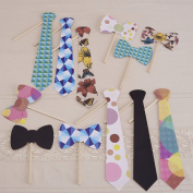 Ginger Ray Photo Booth Vintage Style Wedding Ties & Bowties Party Props Kit - Vintage Affair