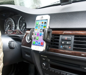 IBRA® Dedicated Air Vent Car Holder Mount Black Vehicle Louvres Phone Cradle Mount For Apple Iphone 6 / 6 Plus / 5 / 4 / 4s / 3G / 3 and IPOD series 2015 Model