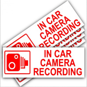 5 x Small In Car Camera Recording-Red on White-Security Stickers-87mm x 30mm-Dashboard CCTV Sign-Van,Lorry,Truck,Taxi,Bus,Mini Cab,Minicab