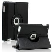 Apple Black PU Leather Wallet Flip Case Cover for The New iPad 2, 3,4 360 Degree Rotation Full Sleep Wake Function