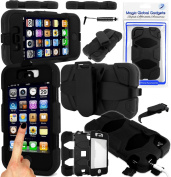 Magic Global Gadgets - Black Bulky Heavy Duty Builders Armour Triple Defender Tough Survivor Military Shockproof Case Cover For Apple iPhone 4 4G 4S With Belt Clip & Built in Screen Guard & Magic Global Gadgets Packaging With Wrist Strap & Mini Stylus Pen