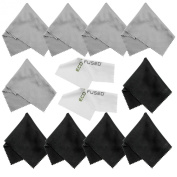 Microfiber Cleaning Cloths - 10 Colourful Cloths and 2 White ECO-FUSED Cloths - Ideal for Cleaning Glasses, Spectacles, Camera Lenses, iPad, Tablets, Phones, iPhone, Android Phones, LCD Screens and Other Delicate Surfaces