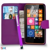 Nokia Lumia 635 Premium Leather Dark Purple Wallet Flip Case Cover Pouch + Big Touch Stylus Pen + Screen Protector & Polishing Cloth SVL2 BY SHUKAN®,
