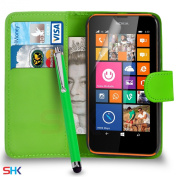 Nokia Lumia 635 Premium Leather Green Wallet Flip Case Cover Pouch + Big Touch Stylus Pen + Screen Protector & Polishing Cloth SVL2 BY SHUKAN®,