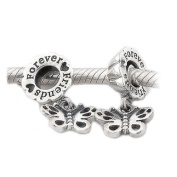 Forever Friends Butterfly Dangle Charm Bead - 925 sterling silver - fits most European bracelets including Pandora, Chamilia, Biagi