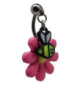 Gekko Body Jewellery Surgical Steel Belly Bar with Pink Flower and Top Drop Down Dangling Bee