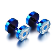 JewelryWe Stainless Steel Mens Unisex Illusion Tunnel Plugs Cheater Faux Fake Round Stud Earring Blue 8mm