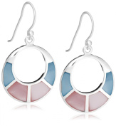 Tuscany Silver Pink Blue Mother-of-Pearl Cut Out Drop Earrings