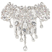 Gemini London Jewellery's. Crystal Vintage Ornate Leaf Detail Hair Comb with. Crystals, Nickel Free, Rhodium Plated, Silver Effect Finish