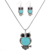 Yazilind Popular Owl Carve Turquoise Black Crystal Pendant Necklace Earrings Jewellery Set for Women Gift