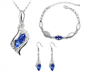 niceeshop(TM) Fashion Rhinestone Women Jewellery Set Necklace Bracelet and Dangle Earrings