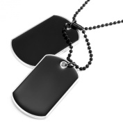 Powerful Army Style Double Dog Tag Pendant Mens Necklace, Biker Adjustable 68cm Black Chain