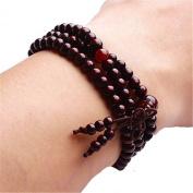 Vintage Tibetan Buddhist Meditation Red Sandalwood Prayer Necklace Bracelet