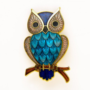 Jap Owl Blue Brooch