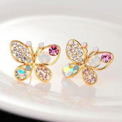 TR.OD Hollow Out Colourful Shining Bling Crystal Rhinestone Cute Lovely Butterfly Ear Stud Pin Earrings