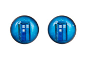 TV Inspired Blue Tardis 8mm Stainless Steel Stud Earrings in Gift Box