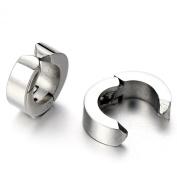 Pair of Huggie Hinged Hoop Earrings Non-Piercing Clip On Earrings Unisex Men Women Boys