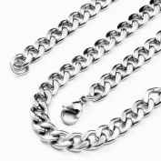 Flongo 5.5mm Wide Stainless Steel Mens Solid Cuban Curb Chain Necklace 19.5 inch Valentine X'mas Halloween