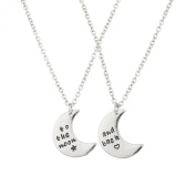Lux Accessories To The Moon & Back BFF Star Heart Best Friends Forever Necklace Set (2 PC).