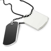 Army Style 2pcs Dog Tag Pendant Mens Necklace Chain