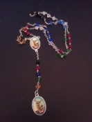 Crown of St. Michael medal glass rosary beads silver tone chain red green blue