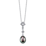 9mm Black Freshwater Pearl & Crystal Shape Pendant