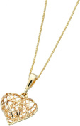 Elements Gold Ladies 9ct Yellow Gold Caged Heart Pendant with Chain of Length 46cm