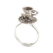 Tea cup ring - Alice in Wonderland adjustable ring TEA pot TIME