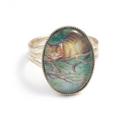 Alice in Wonderland adjustable ring The Cheshire cat charm jewellery
