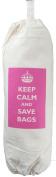 Keep Calm and Save Bags - Carrier Bag Holder - Natural cotton plastic bag storage - Pink design