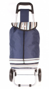 HBY0030 Navy Striped Two Wheeled Shopping Trolley - Sturdy Patterned Small Foldable Trolley
