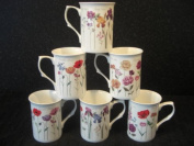 FINE BONE CHINA SET OF 6 MIXED STEM FLOWER MUGS FREE NEXT DAY DELIVERY IN UK