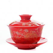 Ufingo-Ceramic Porcelain Tea bowl for wedding with Lid and Saucer,Chinese painting printed,mudan