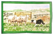 Collie Dog with Sheep Large Cotton Tea Towel