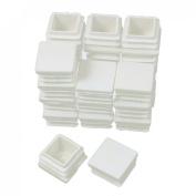 20mm x 20mm Plastic Square Caps Tube Inserts End Blanking White 24 Pcs