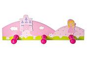 Pink Princess Themed Wooden Children's Coat Hooks Wall Hooks for Girls Nursery or Bedroom