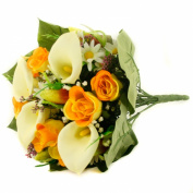 FloristryWarehouse Artificial silk mixed flower bouquet Calla Lillies Roses 40cm Yellow